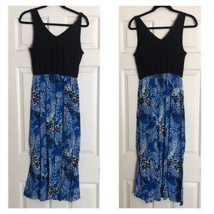 Blue Animal Print V-Neck Tank Top Maxi Dress